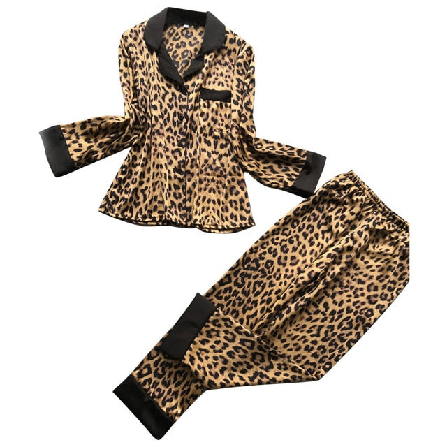 Womens Sexy Satin Leopard pyjamas Long Sleeve