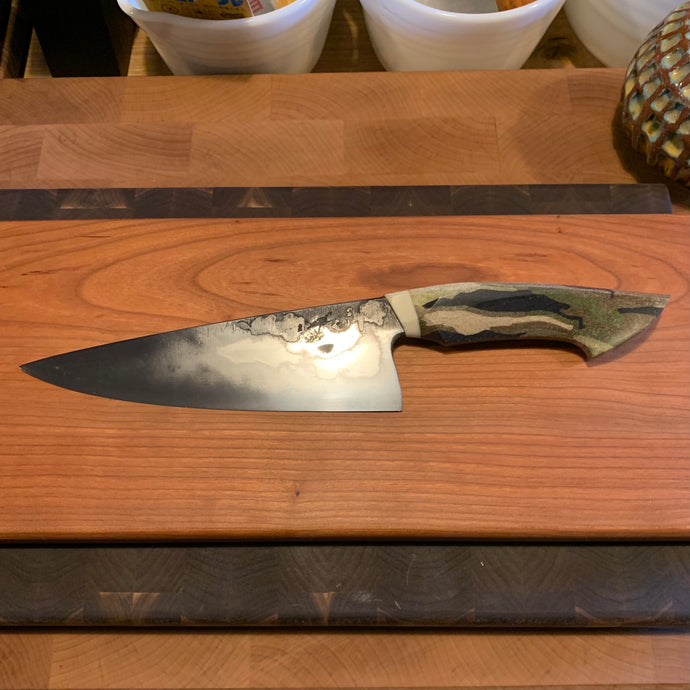 "(Pre-owned) Hazenberg 195mm ""camo dragon"" chef's knife"