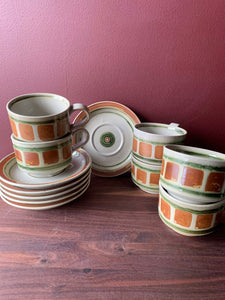 "6 piece cup and saucer set ""Whispering Pines"""