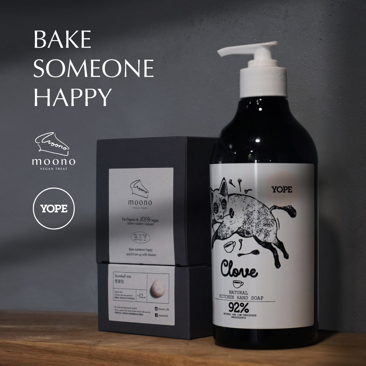 "Moono ""Bake It Yourself"" BIY x YOPE Kitchen Hand Wash Set / Moono 在家製作純素甜品配YOPE廚房洗手液組合"