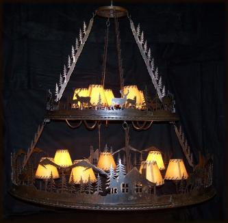 Two Tier Lodge Scene Chandelier