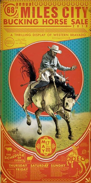 Official 68th Annual 2018 Miles City Bucking Horse Sale Rodeo Poster Print w/Wooden Frame & Glass