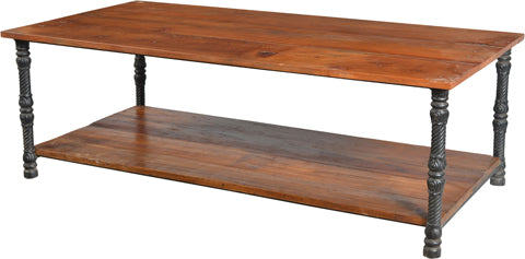 Jasper Iron Leg Coffee Table with Wood Top