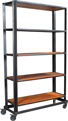 Jasper Iron Frame Bookshelf with Wheels