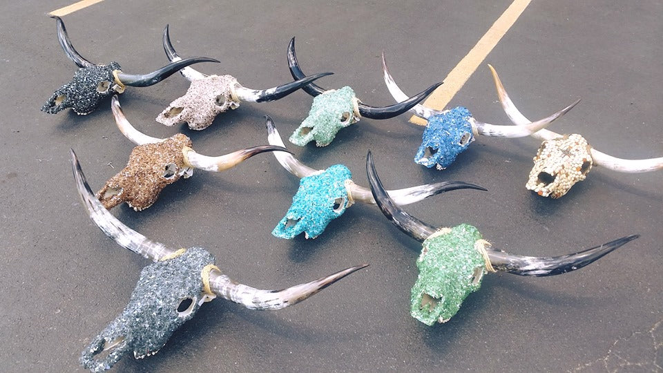 Reflective Fireglass Embellished Steer Skulls