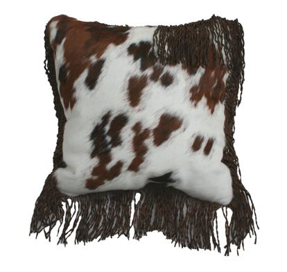 RANCH COLLECTION COWHIDE PILLOW W/ FRINGE