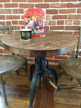 Load image into Gallery viewer, Reclaimed Boxcar Round Table with Mechanical Base