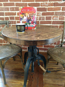 Reclaimed Boxcar Round Table with Mechanical Base
