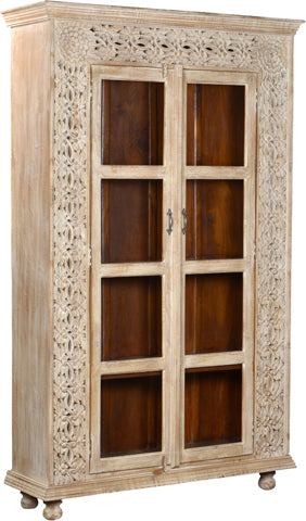 Cornwall Carved Panel Glass Door Cabinet