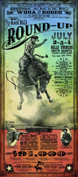 Official 2011 Belle Fourche Black Hills Round-Up Rodeo Poster Print w/Wooden Frame & Glass