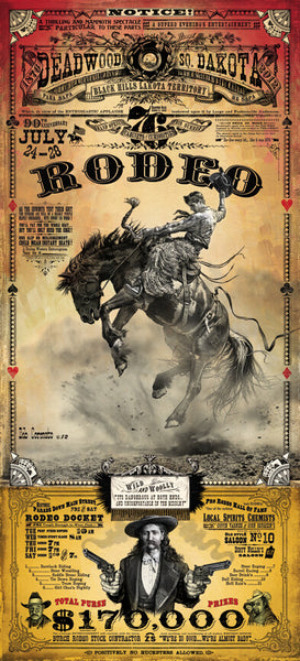 Official 2012 Deadwood Rodeo Poster Print w/Wooden Frame & Glass
