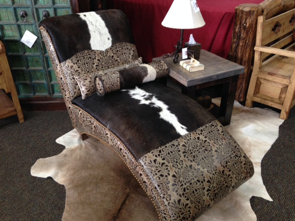Cowhide and Tooled Leather Chaise Lounge