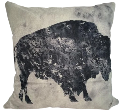 Charcoal Bison Pillow