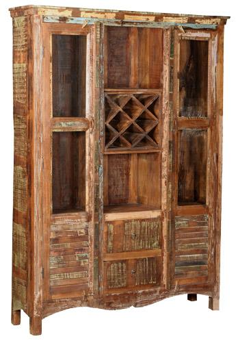 Eartha Collection Shuttered Bookcase with Wine Rack