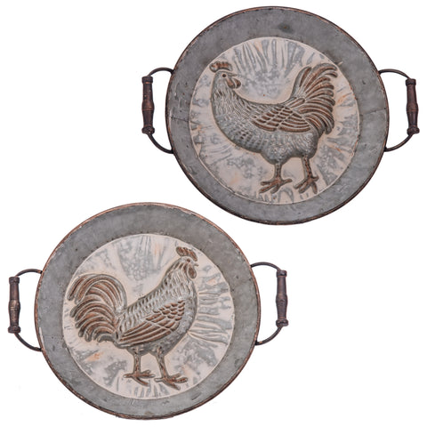 Antique Embossed Rooster & Hen Tin Pan