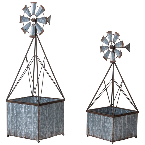 Metal Windmill Planter