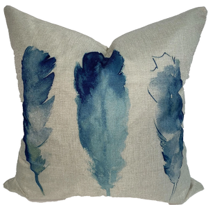 Blue Feathers Pillow