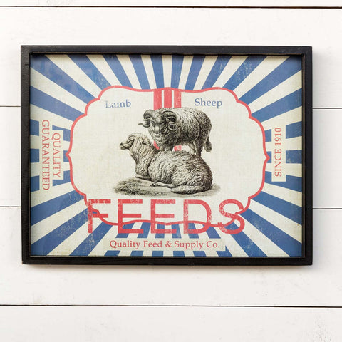 Framed Feedsack Sheep Feed