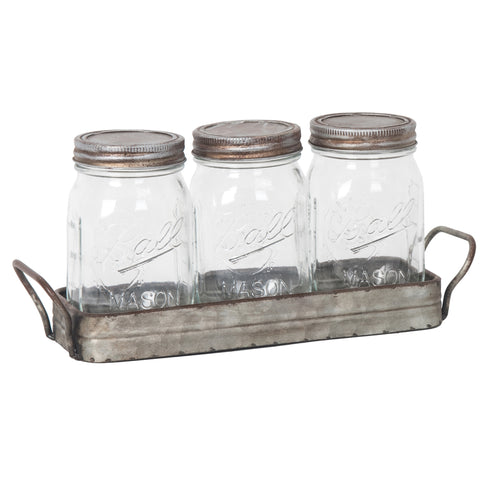 Metal Tray with Mason Jars