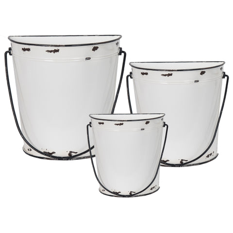 Metal Half Bucket with Handle