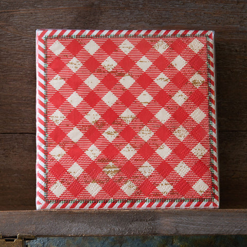 Holiday Gingham Paper Beverage Napkins