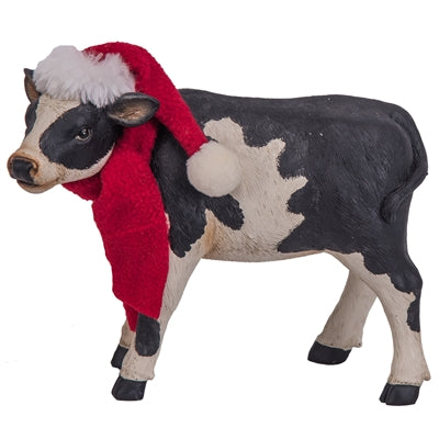 Resin Cow Wearing a Scarf and Santa Hat