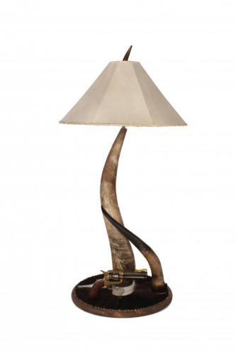 Horn Collection Tall Table Lamp w/ Pistol