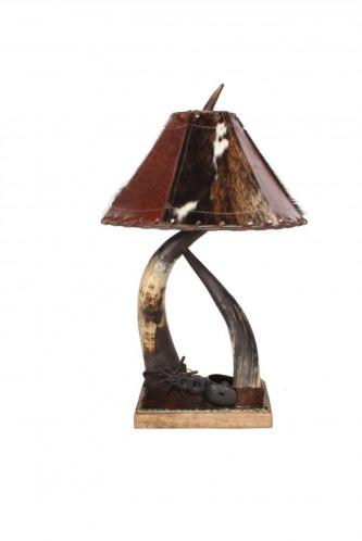 Horn Collection Table Lamp Double w/ Spur
