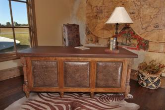 Rio Executive Leather and Wood Desk