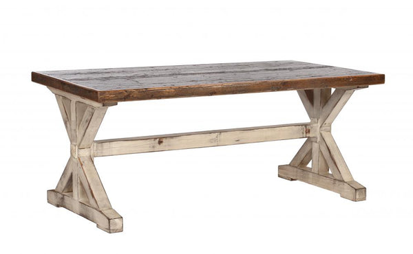 Reclaimed Cargo Flooring Dining Table with K Pattern Base (Standard)