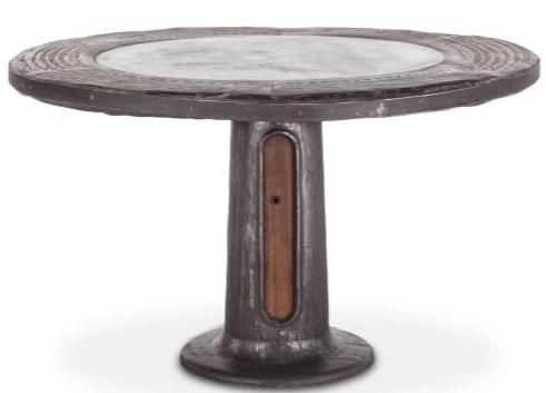 Wagon Wheel Round Table w/Marble