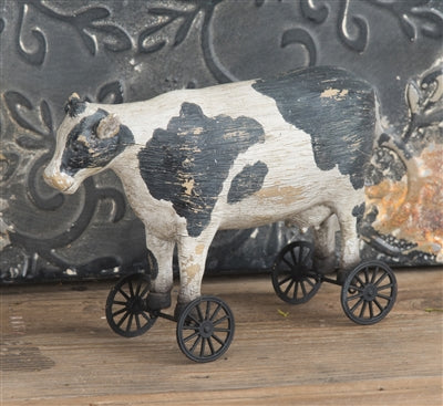 Resin Milk Cow on Wagon