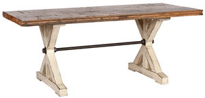 Reclaimed Railroad Floor Table with All Thread (Large)