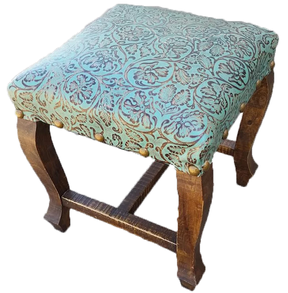 San Miguel Turquoise Floral Embossed Ottoman