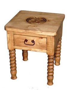 Spindle End Table w/Texas Star