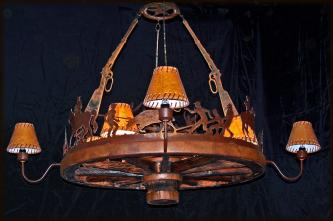Wagon Wheel Chandelier - Working Scene