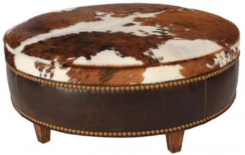 Ranch Collection Round Cowhide Ottoman