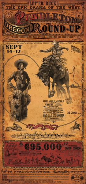 Official 2016 Pendleton Round-Up Rodeo Poster Print w/Wooden Frame & Glass