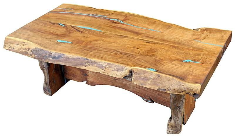 Live Edge Mesquite Coffee Table w/Turquoise Inlay