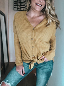 Jennifer Knot Tie Thermal | Mustard