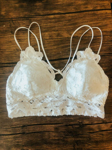 Rose Double Strap Bralette | White
