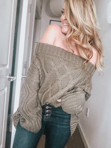 Joanne Cable Knit Sweater | Olive