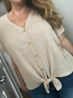 Jessica Waffle Knit Top | Taupe