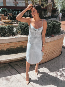 Catherine Mint Striped Midi Dress