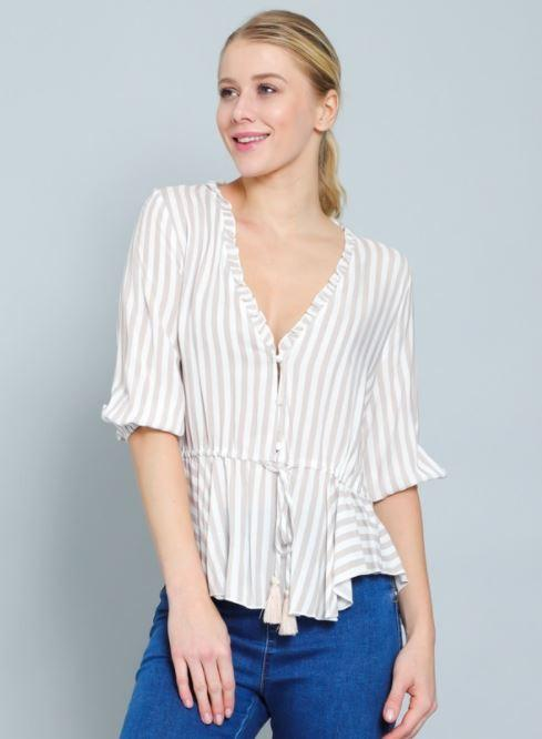 Tinsley Striped V-Neck Top