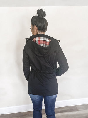 Stephanie Black & Plaid Military Jacket