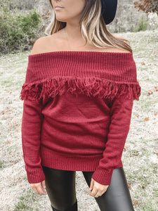 Patty Fringe Off Shoulder Sweater