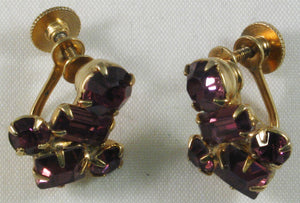 "Vintage Signed ""Coro"" Rhinestone Screw-back Earrings with Amethyst Color Stones"