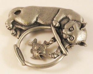 "Cat after Fish in Fishbowl Brooch. Sign ""JJ"""