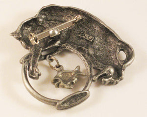 "Cat after Fish in Fishbowl Pewter Brooch. Sign ""JJ"" Jonette Jewelry Co."